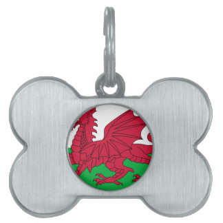 Flag of Wales - The Red Dragon - Baner Cymru Pet Name Tags
