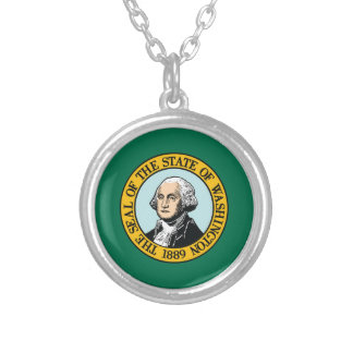 Flag Of Washington Silver Plated Necklace