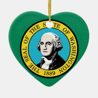 Flag of Washington State Ceramic Heart Ornament