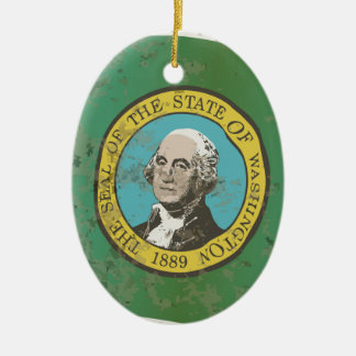 Flag of Washington State Ceramic Oval Ornament