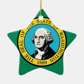 Flag of Washington State Ceramic Star Ornament