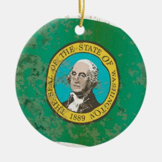 Flag of Washington State Round Ceramic Ornament