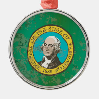 Flag of Washington State Silver-Colored Round Ornament