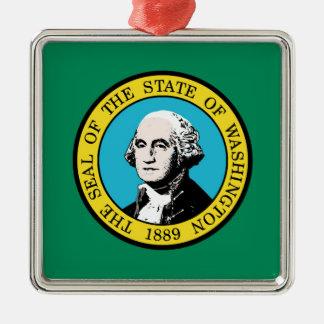 Flag of Washington State Silver-Colored Square Ornament