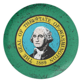 Flag of Washington State With Grunge Dinner Plates