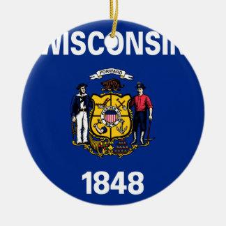 Flag Of Wisconsin Ceramic Ornament