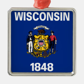 Flag Of Wisconsin Metal Ornament