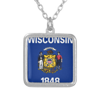 Flag Of Wisconsin Silver Plated Necklace