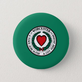 Flag of Worcester, Massachusetts 2 Inch Round Button