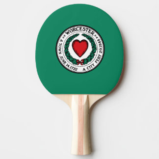 Flag of Worcester, Massachusetts Ping Pong Paddle