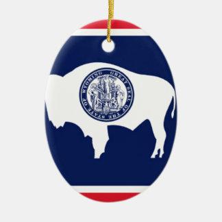 Flag Of Wyoming Ceramic Ornament