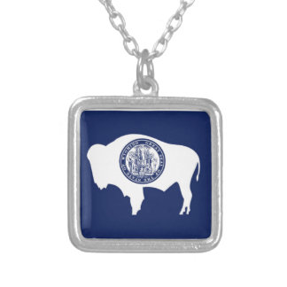 Flag Of Wyoming Silver Plated Necklace