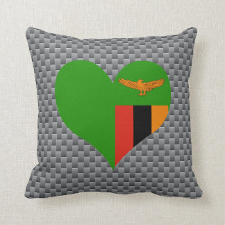 Flag of Zambian on metal background Throw Pillow