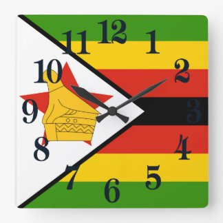 Flag of Zimbabwe Africa Square Wall Clock