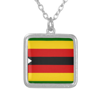 Flag of Zimbabwe - Zimbabwean - Mureza weZimbabwe Silver Plated Necklace