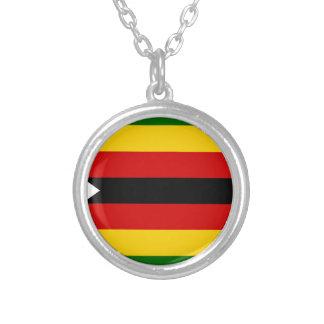 Flag of Zimbabwe - Zimbabwean - Mureza weZimbabwe Silver Plated Necklace