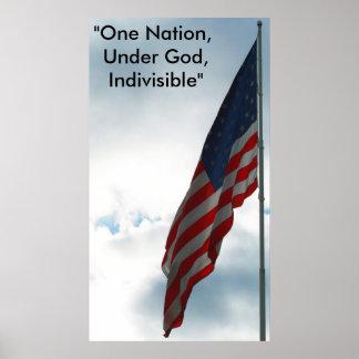 """Flag on blue sky, """"One Nation,  Under God,  Ind... Poster"""