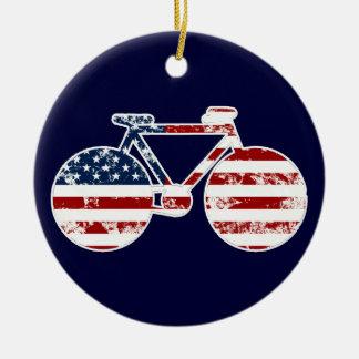 flag patriotic United States of America biking Round Ceramic Ornament