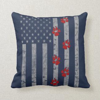 Flag Paws Throw Pillow