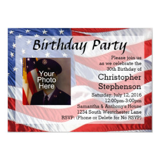 Flag/Photo Patriotic Birthday Party Invitation