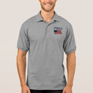 """Flag, """"Proud to be an American"""" Polo Shirt"""
