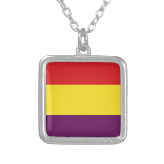 Flag Republic of Spain - Bandera República España Silver Plated Necklace