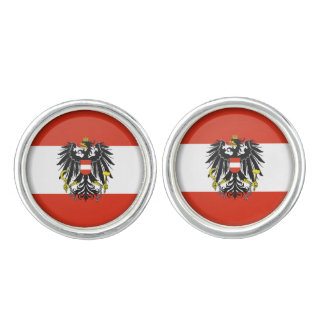 Flag Round Cufflinks, Silver Plated Cuff Links