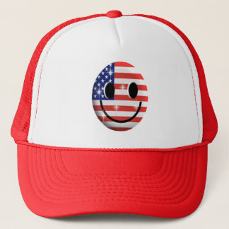 flag smiley face trucker hat