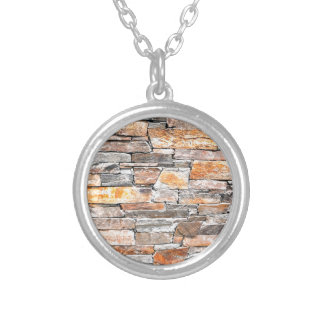Flag stone silver plated necklace