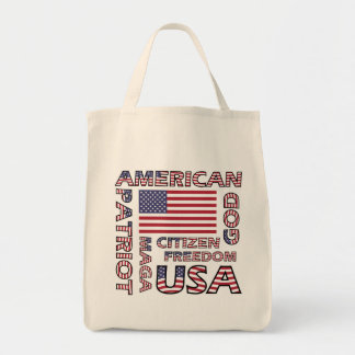 Flag Text US Patriot Old Glory Tote Bag