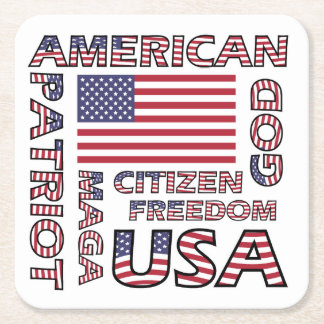 Flag Text US Patriot Red White and Blue Square Paper Coaster