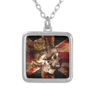 Flag United Kingdom England London Grunge Silver Plated Necklace