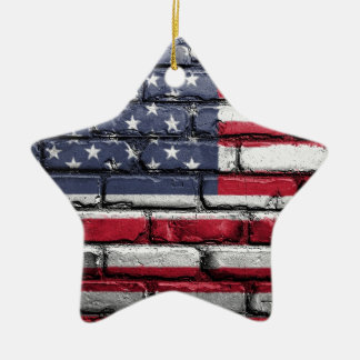 Flag Usa America Wall Painted American Usa Flag Ceramic Ornament
