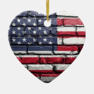 Flag Usa America Wall Painted American Usa Flag Ceramic Ornament