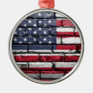 Flag Usa America Wall Painted American Usa Flag Metal Ornament
