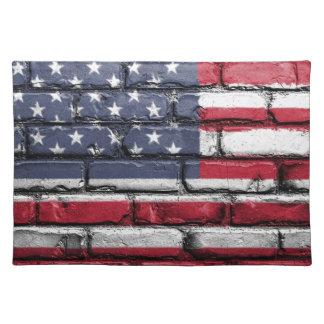 Flag Usa America Wall Painted American Usa Flag Placemat