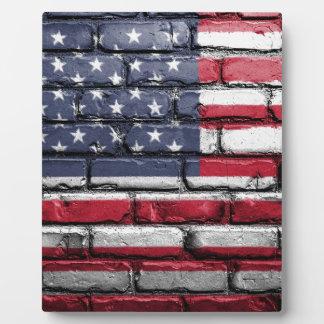 Flag Usa America Wall Painted American Usa Flag Plaque