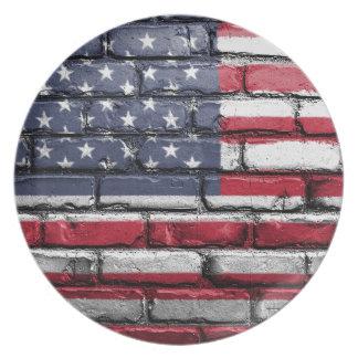 Flag Usa America Wall Painted American Usa Flag Plate