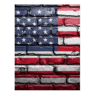 Flag Usa America Wall Painted American Usa Flag Postcard