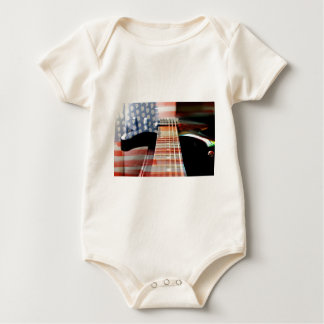 Flag Usa Banner Guitar Electric Guitar Baby Bodysuit