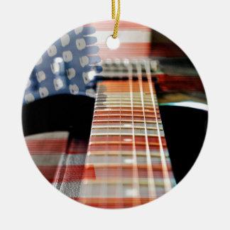 Flag Usa Banner Guitar Electric Guitar Ceramic Ornament