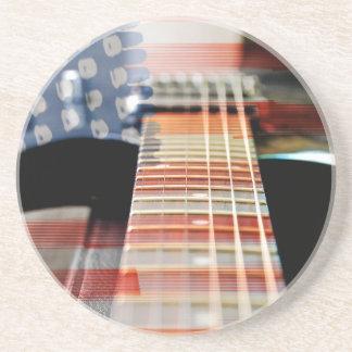 Flag Usa Banner Guitar Electric Guitar Coaster