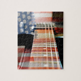 Flag Usa Banner Guitar Electric Guitar Jigsaw Puzzle
