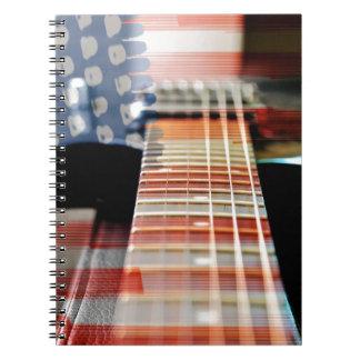 Flag Usa Banner Guitar Electric Guitar Notebooks
