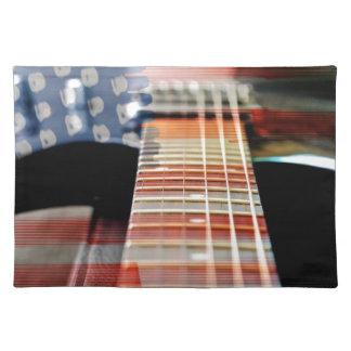 Flag Usa Banner Guitar Electric Guitar Placemat