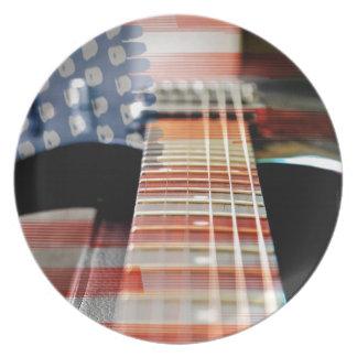 Flag Usa Banner Guitar Electric Guitar Plate