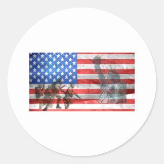Flag USA veteran Personalize Destiny Destiny'S Classic Round Sticker