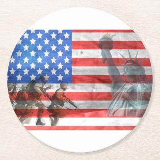 Flag USA veteran Personalize Destiny Destiny'S Round Paper Coaster