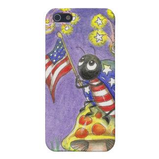 Flag waving Fourth of July Ladybug Art Case For iPhone 5/5S