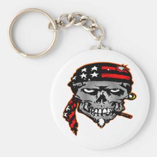 Flag Wrap Skull Basic Round Button Keychain